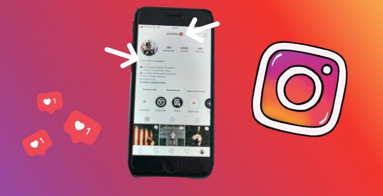 Instagram felhasználónév kiválasztása a profilodhoz.